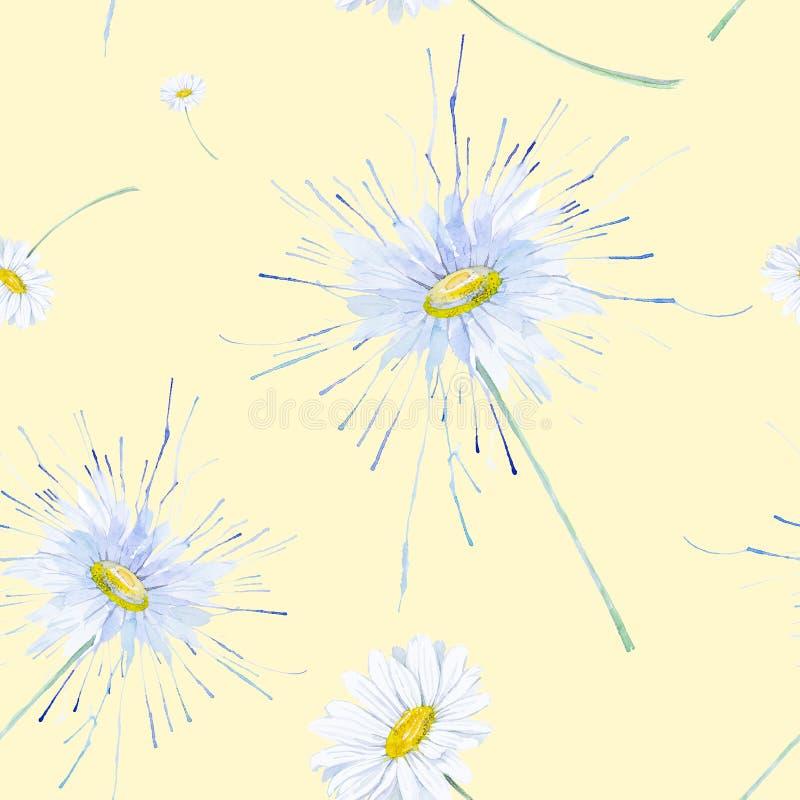 春黄菊的抽象水彩例证 查出在黄色背景 无缝的模式 皇族释放例证