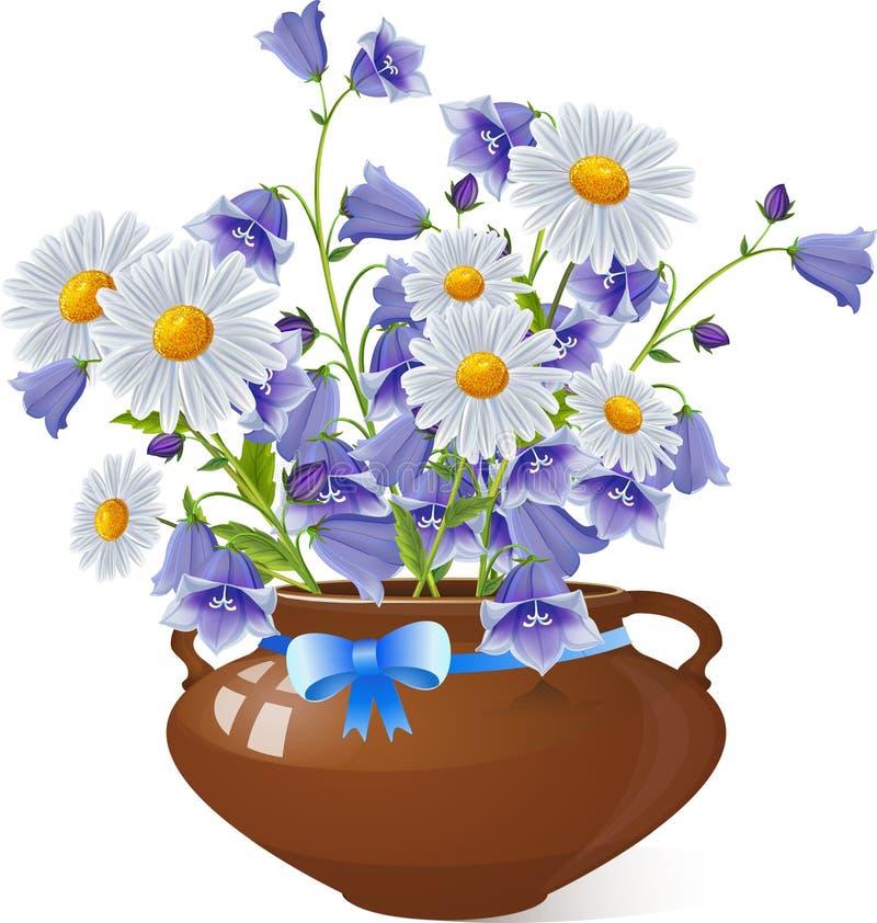 春黄菊花和风轮草响铃花束  皇族释放例证