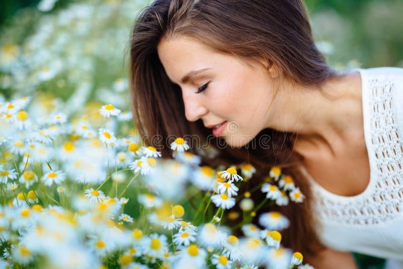 春黄菊领域的美丽的妇女 免版税库存照片