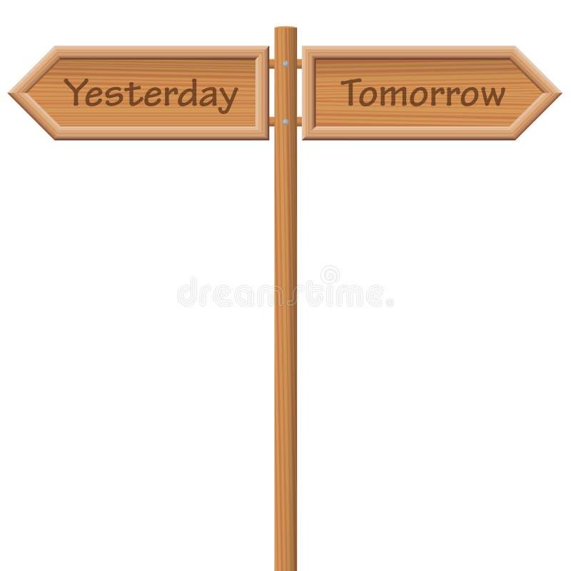 昨天明天路标木样式 库存例证