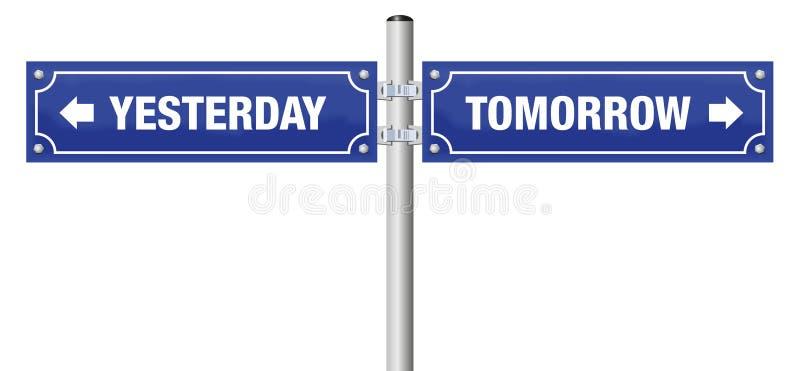 昨天明天路牌 向量例证