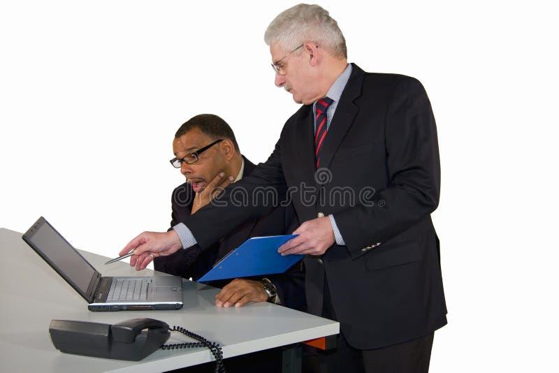 是上司生意人他提示的成熟 免版税库存图片
