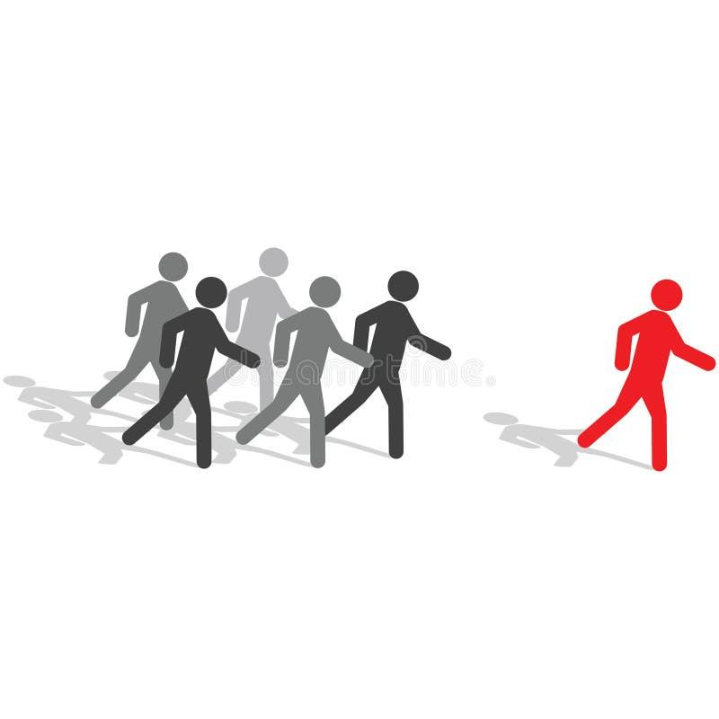是不同的人群跨步 向量例证