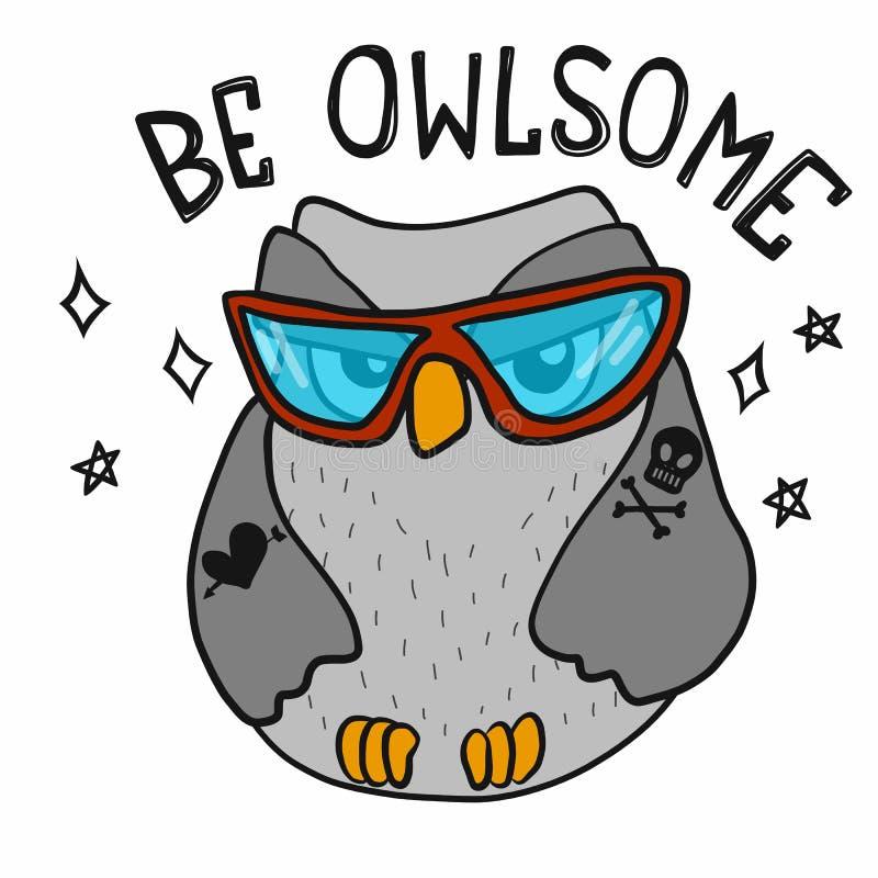 是与太阳镜动画片传染媒介例证乱画样式的Owlsome凉快的逗人喜爱的猫头鹰 皇族释放例证