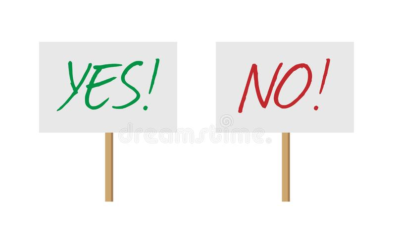 是和没有标志横幅在木棍子收藏 传染媒介在白色背景与是的抗议标志和没有词隔绝的 库存例证
