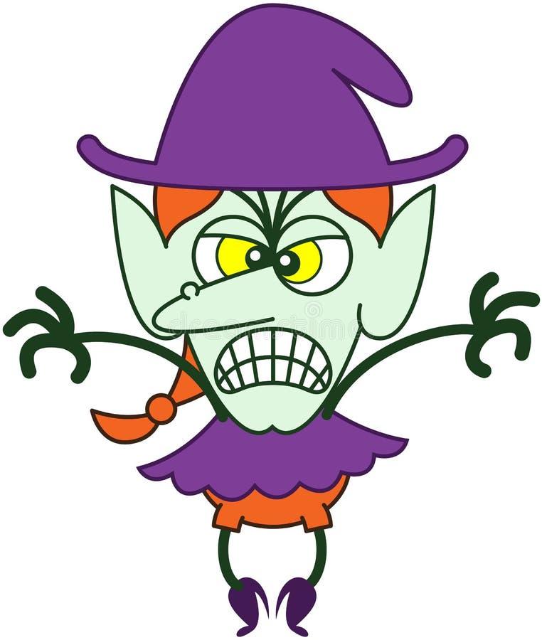 是愤怒的万圣夜的巫婆可怕的 向量例证