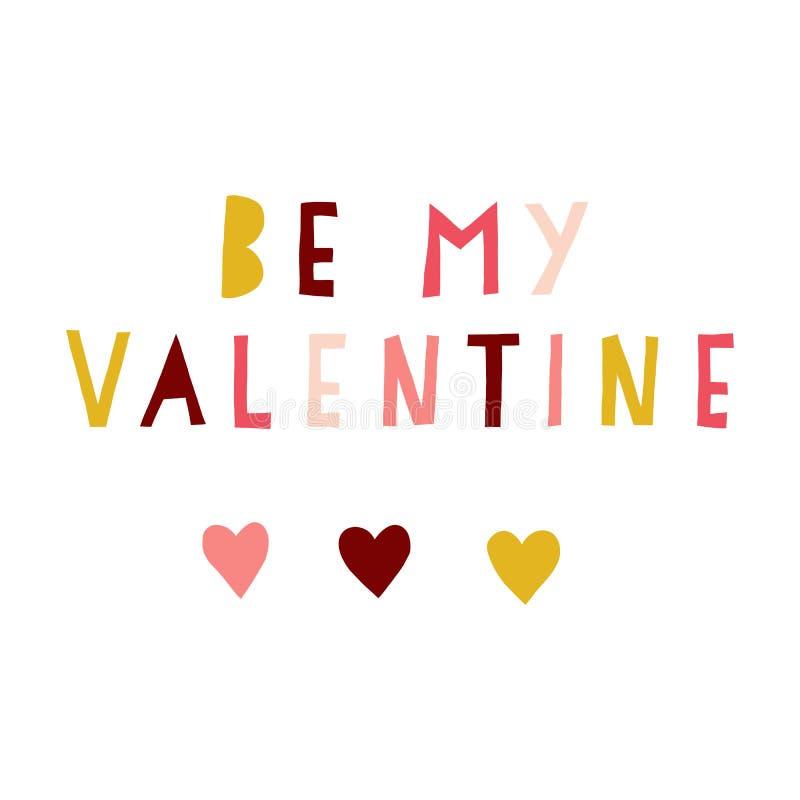是我的华伦泰被删去的传染媒介例证 我爱你手拉的行情 在拼贴画样式桃红色的浪漫情人节字法, 库存例证