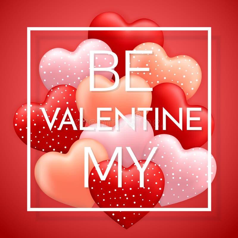 是我的华伦泰,愉快情人节,红色,桃红色和橙色气球以心脏的形式与丝带传染媒介图象 皇族释放例证