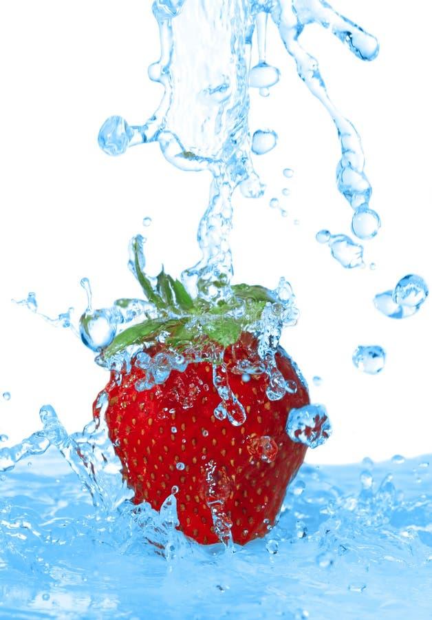 是查出的倾吐的草莓水 免版税库存照片