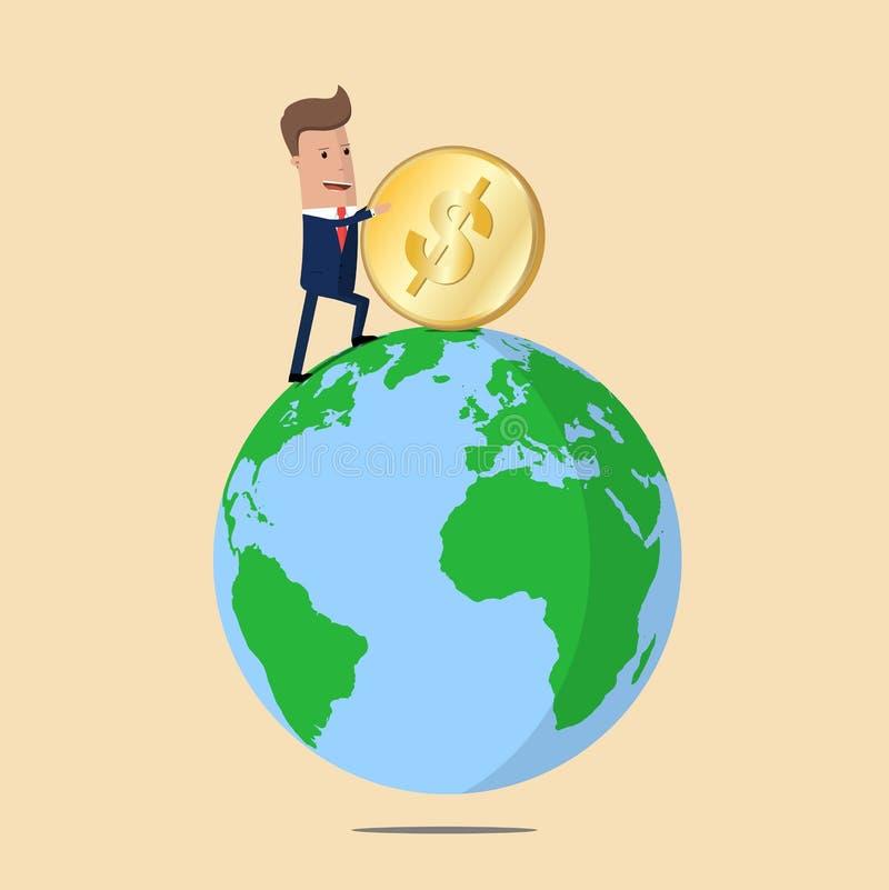 是概念映射货币通过的调用世界 推挤美元的硬币商人 也corel凹道例证向量 皇族释放例证
