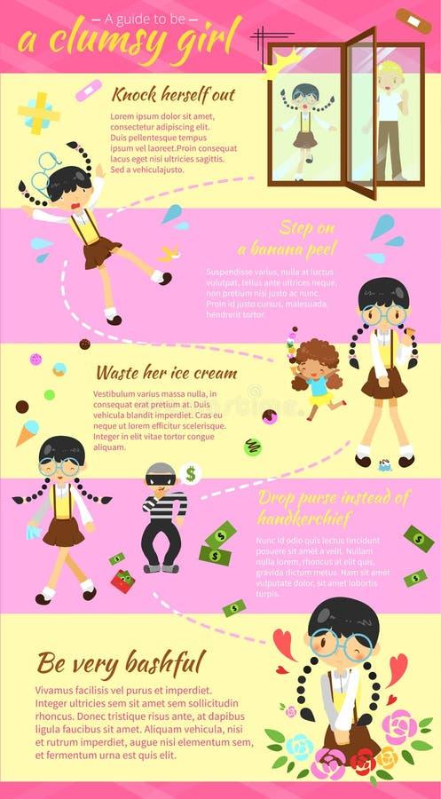 是的指南一个笨拙的女孩infographic模板布局设计w 皇族释放例证