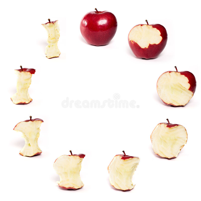 是的苹果被吃的红色系列 免版税库存图片
