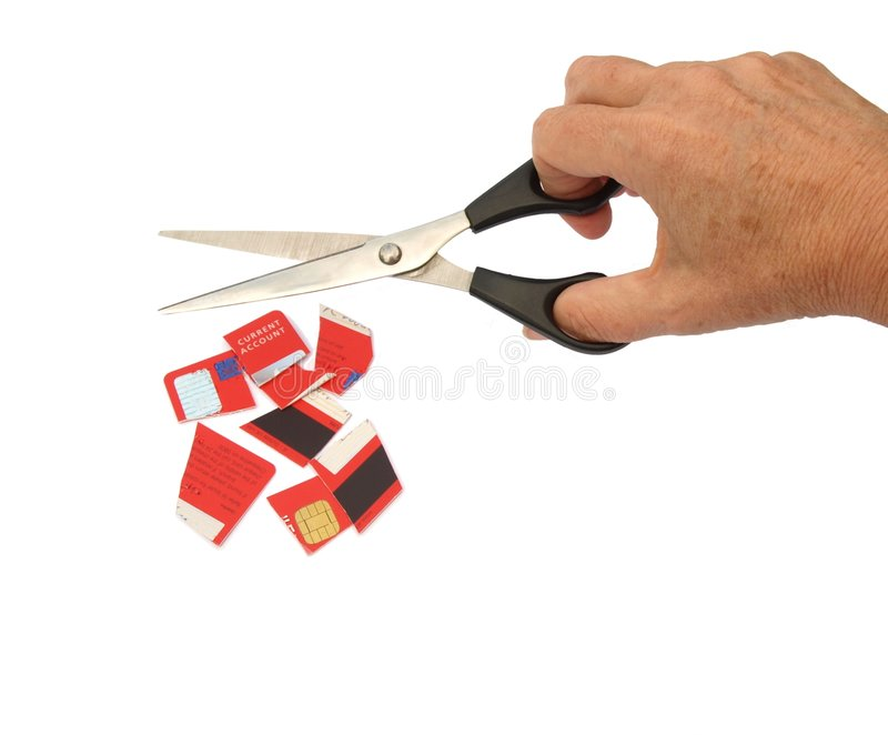 是看板卡赊帐剪切剪  库存图片