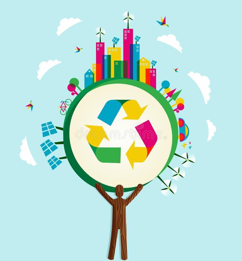 是绿色世界概念结构树 库存例证