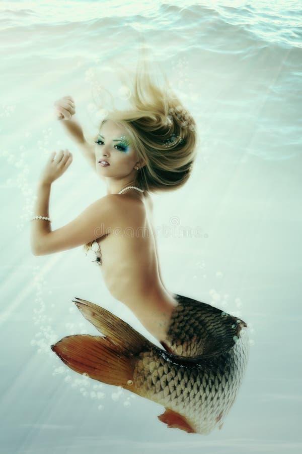是美人鱼美好的水下的神话原始的照片comp 免版税库存图片