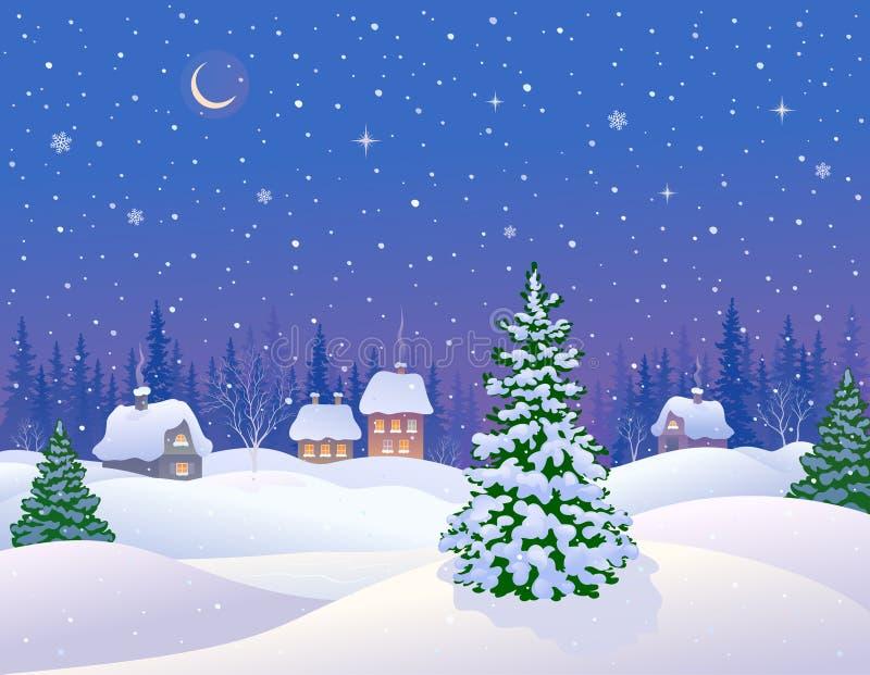 是能设计您例证横向晚上使用的冬天 皇族释放例证