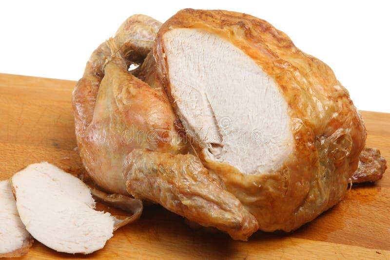 是被雕刻的鸡烘烤 免版税图库摄影