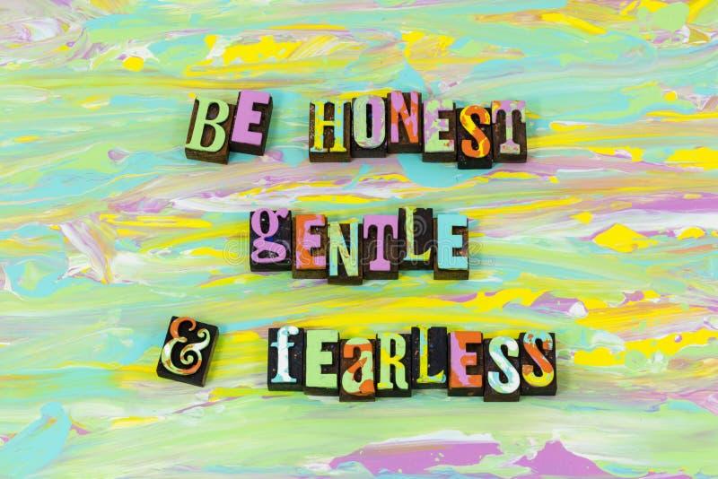 是诚实的柔和的灵魂无所畏惧的亲切的耐心活版类型 库存例证