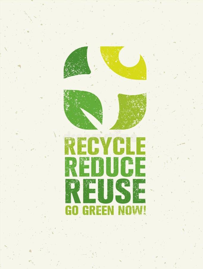 是绿色回收减少再用Eco海报概念 在概略的背景的传染媒介创造性的有机例证 库存例证