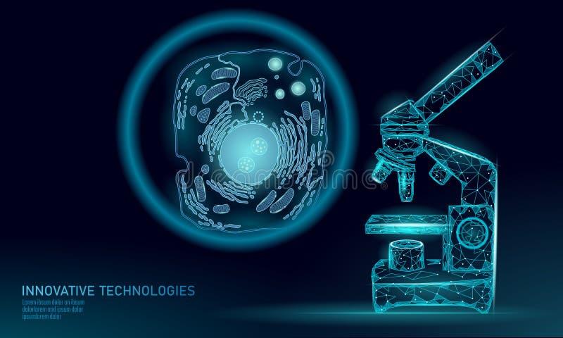 显微镜人为细胞综合动物人的设计师细胞生物化学 设计GMO研究概念 宏指令 库存例证