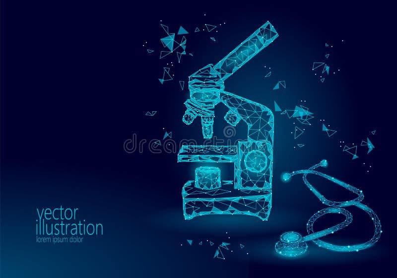 显微镜科学医学企业设备 低多多角形三角蓝色发光的点连接了听诊器 皇族释放例证