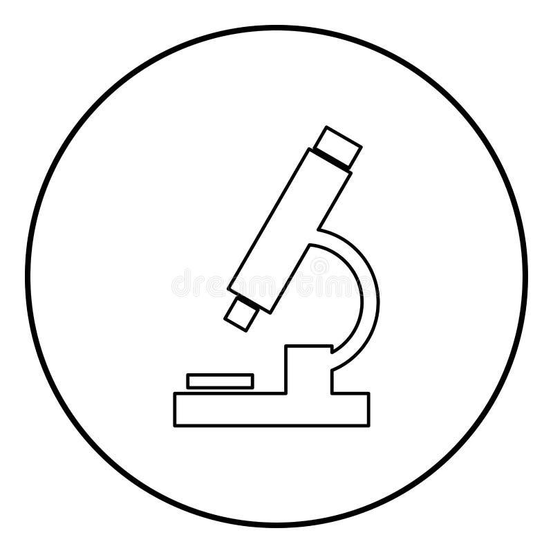 显微镜象在圆的圈子的黑色颜色 库存例证