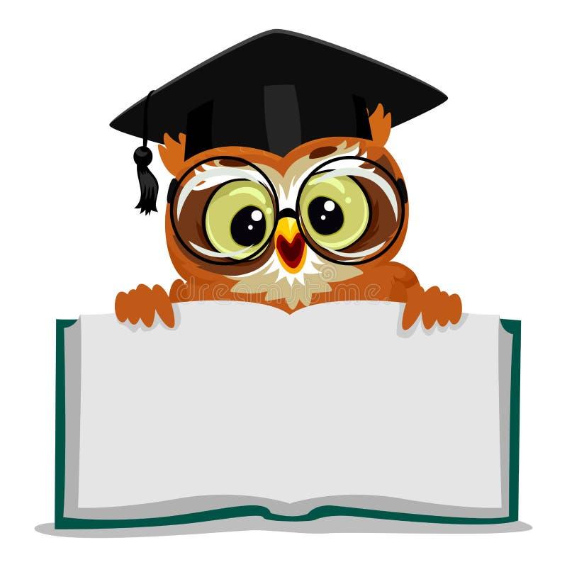 显示一本开放空的书的猫头鹰 库存例证