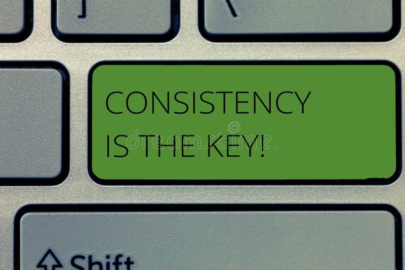 显示一贯性的文字笔记是钥匙 陈列充分的致力的企业照片对任务一个成习惯性过程 免版税库存照片