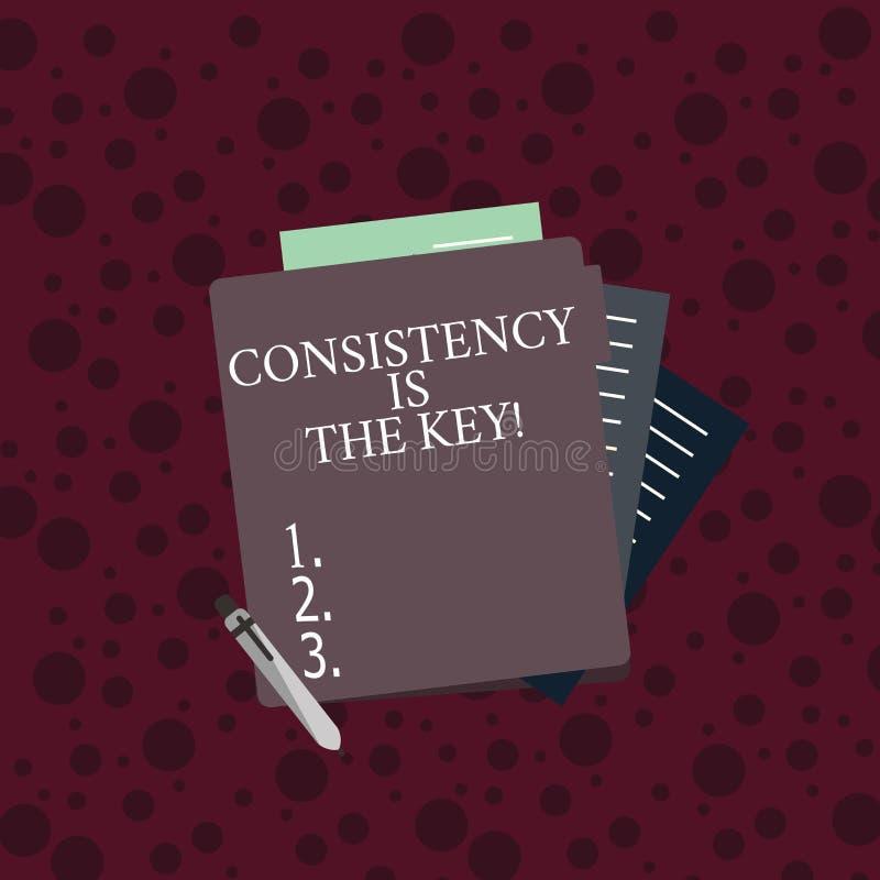 显示一贯性的概念性手文字是钥匙 企业照片文本通过改变恶习和形成好那些 向量例证