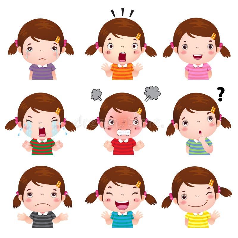 显示不同的情感的逗人喜爱的女孩面孔 库存例证