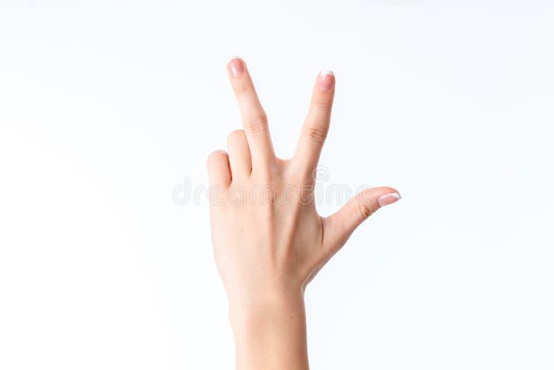 显示与三个手指的女性手姿态 图库摄影
