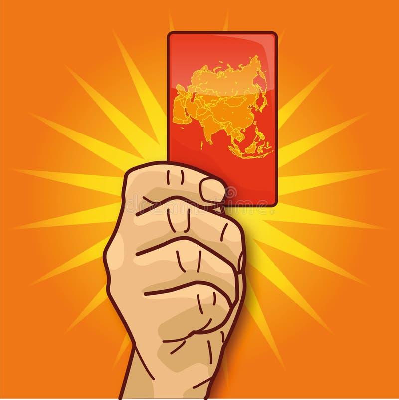 显示与亚洲的手一张卡片 向量例证