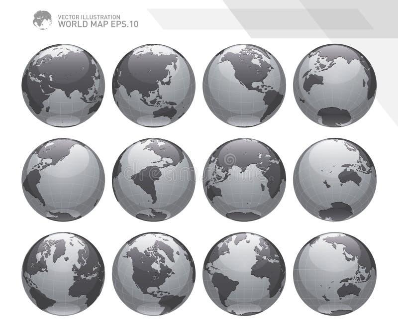 显示与所有大陆的地球地球 数字式世界地球传染媒介 被加点的世界地图传染媒介 向量例证