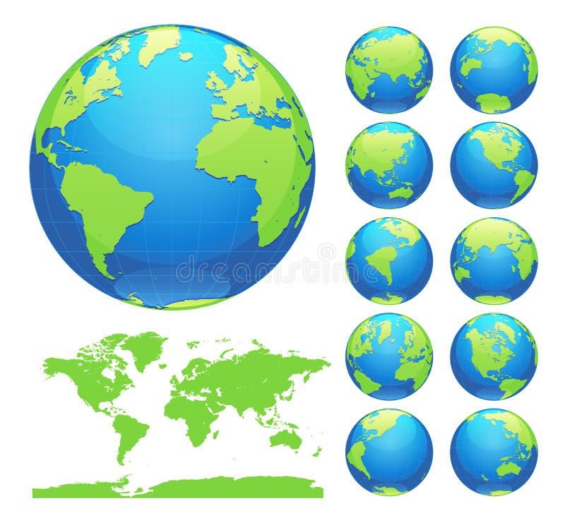 显示与所有大陆的地球地球 数字式世界地球传染媒介 被加点的世界地图传染媒介 库存例证