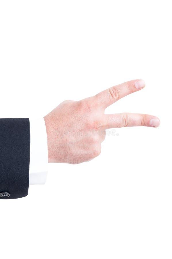 显示与手指的商人手第二 库存照片