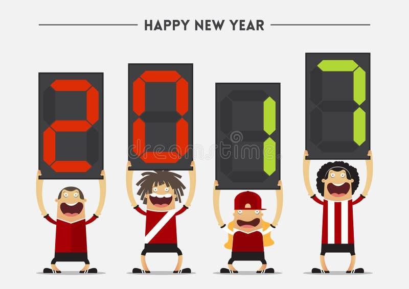 显示与新年快乐2017按摩的橄榄球或足球运动员代替板 向量 向量例证