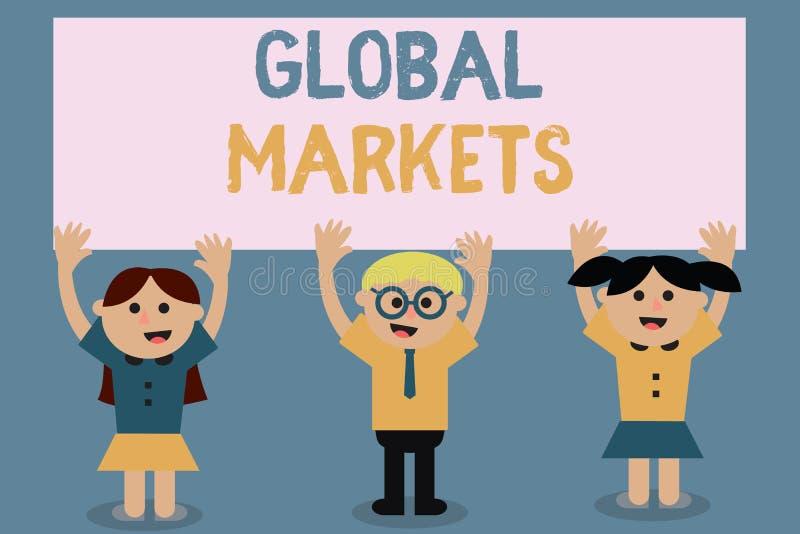 显示世界市场的文本标志 概念性照片贸易的商品和服务在世界的所有国家 向量例证
