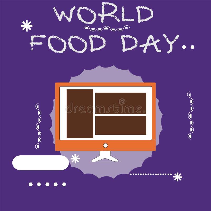 显示世界粮食日的文字笔记 企业照片陈列的世界天行动致力了应付全球性饥饿 皇族释放例证