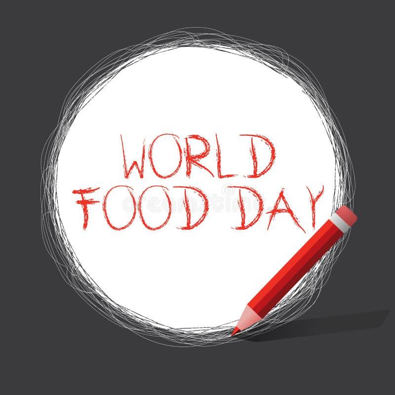 显示世界粮食日的文字笔记 企业照片陈列的世界天行动致力了应付全球性饥饿 库存例证
