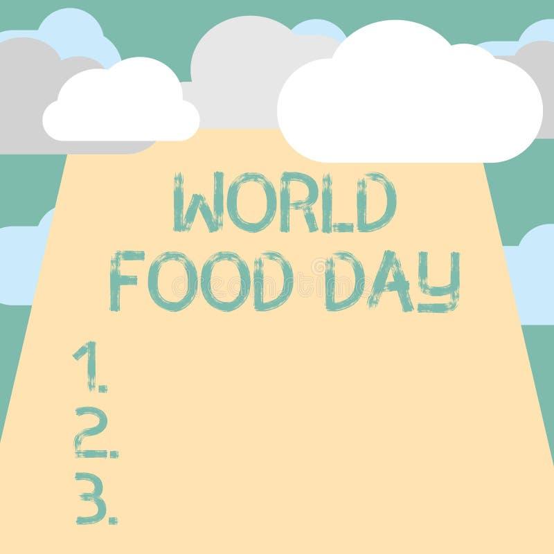 显示世界粮食日的文本标志 概念性照片世界天行动致力了应付全球性饥饿 库存例证