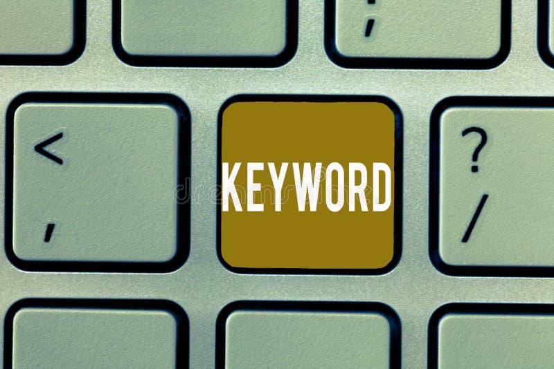 显示主题词的文字笔记 与伟大意义重要销售方针的企业照片陈列的词概念 免版税库存照片