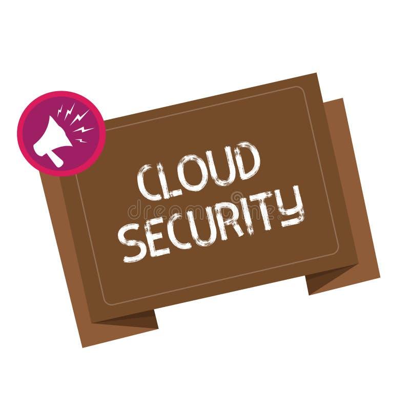 显示云彩安全的概念性手文字 企业照片陈列保护被存放的信息安全受控technolog 向量例证