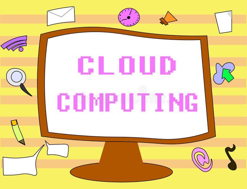 显示云彩计算的文本标志 概念性照片用途在互联网上主持的远程服务器网络  向量例证