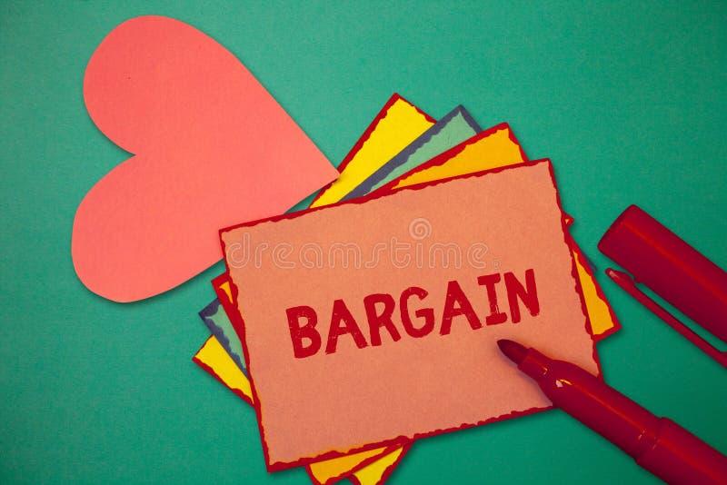 显示交易的文本标志 概念性照片谈判交易的期限和条件请求折扣 图库摄影
