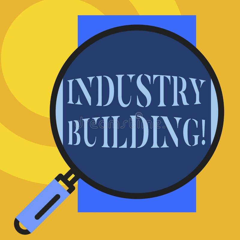 显示产业大厦的文本标志 概念性照片为analysisufacturing使用的工厂和其他前提大 向量例证