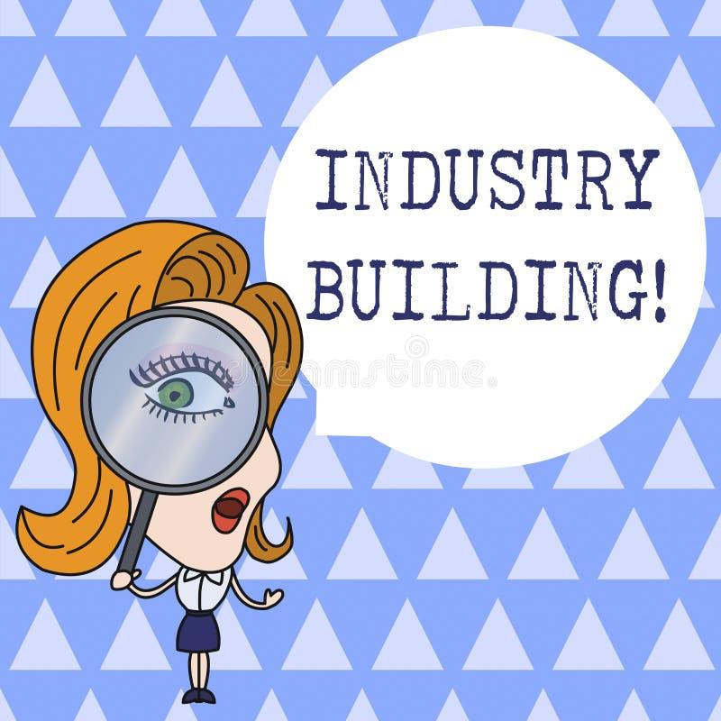 显示产业大厦的文本标志 E 库存例证