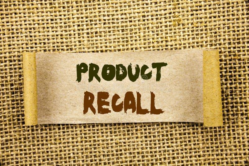 显示产品取消的文字文本 在泪花写的产品缺陷的企业照片陈列的回忆退款回归稠粘的N 免版税图库摄影