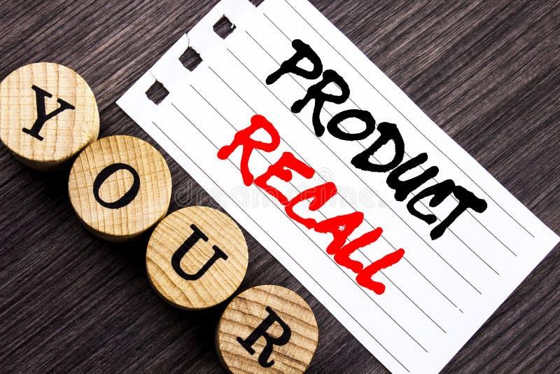 显示产品取消的文字文本 在泪花笔记写的产品缺陷的企业照片陈列的回忆退款回归pap 免版税库存图片