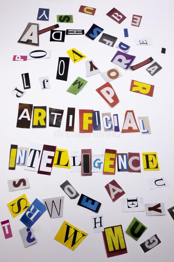 显示人工智能的概念词文字文本由企业案件的另外杂志报纸信件制成在Th 库存照片