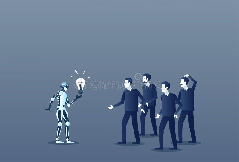 显示人电灯泡企业概念现代人工智能的机器人 向量例证